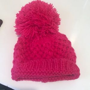 Bright pink beanie!
